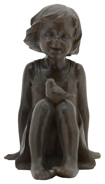 kinder skulptur hilda m dchen mit vogel auf dem knie sitzend moderne plastik traumflug. Black Bedroom Furniture Sets. Home Design Ideas
