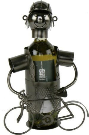 Flaschenhalter Fahrradfahrer mit Fahrrad - Metall Skulptur Fahrrad Weinflaschenhalter