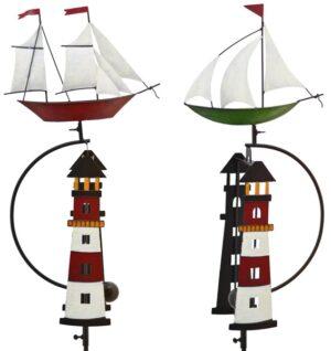 Windspiel Schiff Segelschiff mit Leuchtturm- Metall Balancer Windspiel Maritim 223894