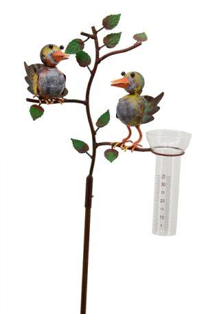 Regenmesser Vogelpaar Spatzen - Niederschlagsmesser Vogelhochzeit aus Metall