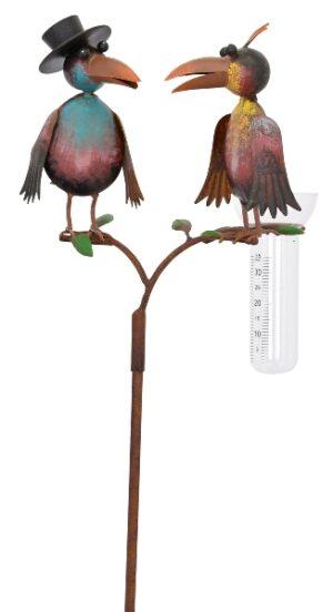 Regenmesser Rabenpaar - Dr. Rabe mit Zylinder und Gattin - Gartenstecker Niederschlagsmesser Vogelpaar