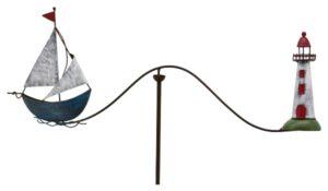 Windspiel Maritim Schiff Segelschiff mit Leuchtturm - Metall Garten Balancer