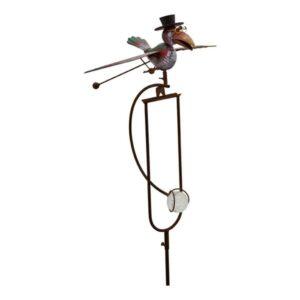 Wippe Windspiel Rabe mit Schwingflügel - ArtFerro, Gartenpendel Metallwippe