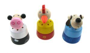 Drücktiere mit Tierstimmen - Bellender Hund, muhende Kuh, krähender Hahn - Holztiere mit elektronischen Tierstimmen