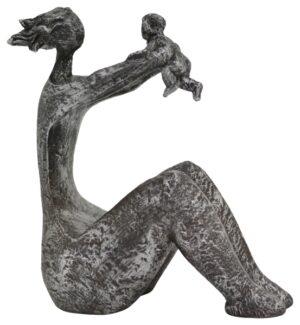 FrauenSkulptur Hilda - Mutter mit Baby - Dekofigur aus Polyresin - moderne Plastik - Frau sitzt und hebt ihr Kind