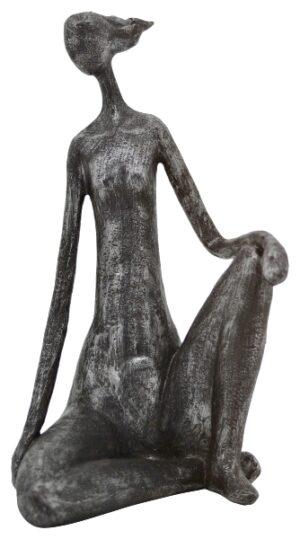 FrauenSkulptur Hilda - sitzende Dame - Dekofigur aus Polyresin - moderne Plastik