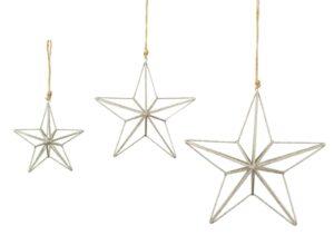 Metall Stern - Fünfzackiger Sternhänger Teal - silbern, Deko zum aufhängen