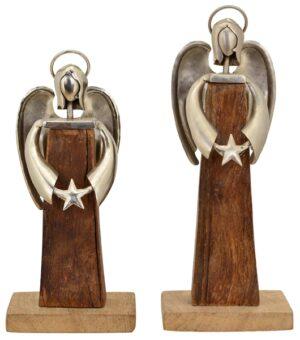 Holz Engel Puri Schutzengel Skulptur Holz/Metall - moderne Plastik - Dekofigur