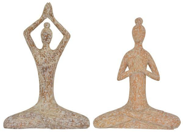 Yoga Skulptur Artisanal - Frauen im Lotussitz 33-36 cm - massiv Holz