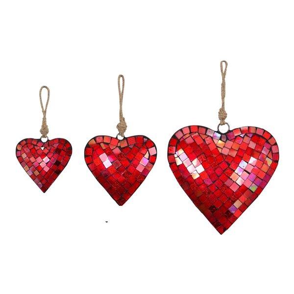 Mosaik Herzhänger - Metall Herz Spiegelmosaik, rot