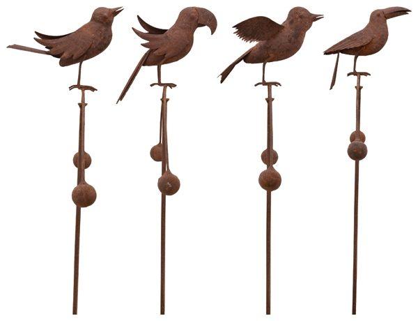 Windspiel Vogel Balancer Edelrost Vogelwippe - Gartenpendel, verschiedene Vogelarten