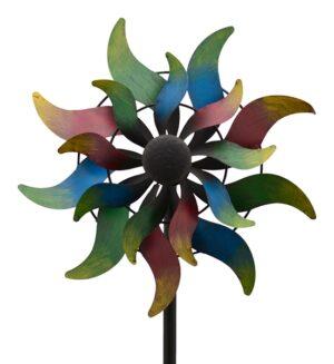 XXL Blume Windrad Doppelwindrad ArtFerro Windspiel Gartenstecker Gartendeko Metall - matt lackiert