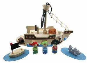 Spieleset Holz Piratenschiff 10-teilig - Piratenspiel
