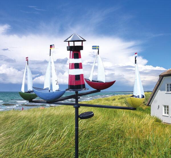 LED Solar Xl Windspiel Schiffskarussell Regatta mit Beleuchtung - Küstenwindspiel