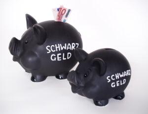 XL Spardose Sparschwein Schwarzgeld - schwarzes Keramik Schwein als Sparsau