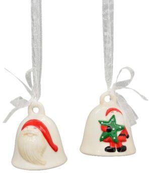Weihnachtsglocke - GlockenHänger Weihnachtsmann - Nikolaus Keramik Vergrößerte Ansicht GlockenHänger Chrissie 230606
