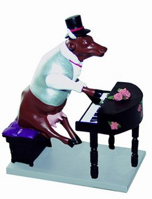 CowParade small Piano Cow Specials Mini Kuh am Klavier Pianist - Rarität