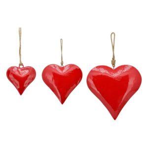Emaille Herz Hänger rot - Herzhänger Enamel - Metall, 5cm