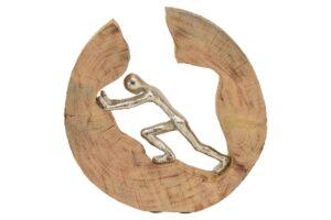Kletter Skulptur Artisanal - Alu Figur in einer Holzscheib, 29cm