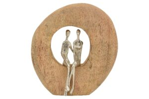 Liebespaar Skulptur Artisanal - Alu Figuren im Holzring sitzend