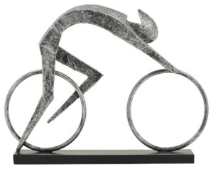 Fahrrad Skulptur Radfahrer - Racer - Bronze-Finish oder Antik Silber