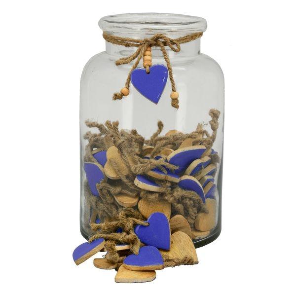 Holz Herz blau zum Hängen - Herz zum Beschriften - Geschenkanhänger