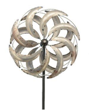 XL Doppelwindrad silber, gegenläufig - Metall Windrad 360 ° drehend - ArtFerro Metalldesign