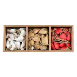 Box mit Holz Herz Hängern - Holz Herzen mit Kordel - Geschenkanhänger