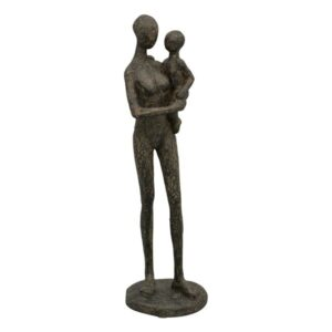 Eltern Skulptur Mutter mit Kind Dekofigur aus Polyresin - moderne Plastik