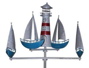 Küste Windspiel Regatta - 4 Segelschiffe mit Leuchtturm - Metall Gartenstecker Maritim Shiffskarussell