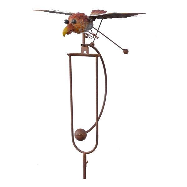 Wippe Windspiel Vogel mit Schwingflügel - ArtFerro, Gartenpendel Metallwippe