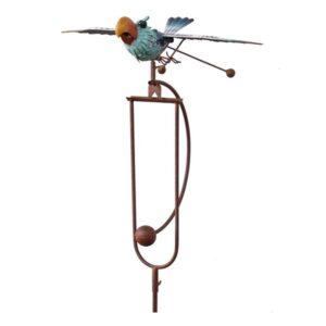 Vogelwippe Windspiel Papagai mit Schwingflügel - ArtFerro, Gartenpendel Metallwippe