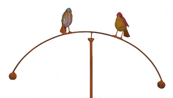 Windspiel Vogelwippe Gartenpendel Gartenwippe Deko ❤❤ verliebte Vögel im Herz ❤❤