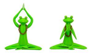 Yoga Frosch Kanu in Lotus Pose - meditierender Metallfrosch in Entspannungshaltung