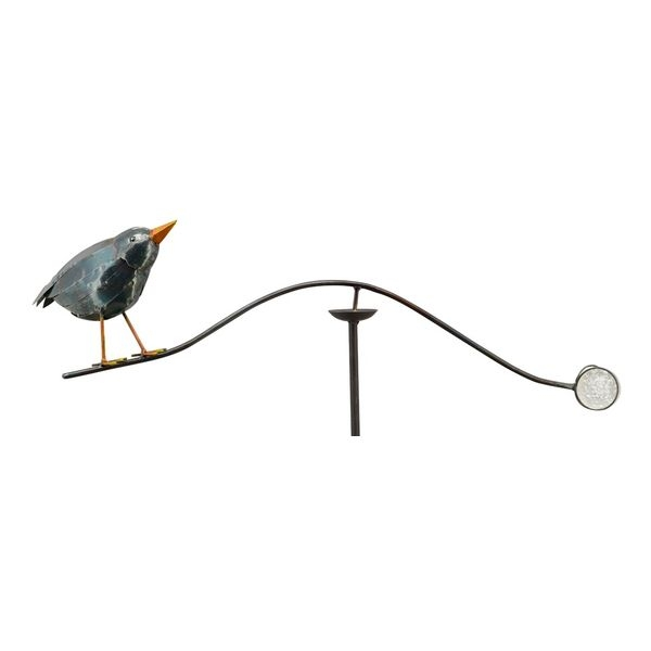 Vogel Windspiel Rabe Vogelwippe ArtFerro mit Glaskugel - Metall Balancer Gartenstecker