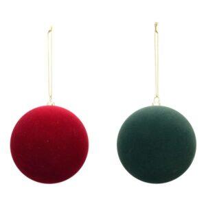 KugelHänger Samt Weihnachtskugel Baumschmuck rot/grün