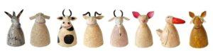 6 x Metall Zaunhocker Bauernhof Tiere: Esel, Katze, Kuh, Maus, Pferd, Frosch