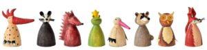 8 x Tiere Metall Zaunhocker Serie: Dachs, Eule, Igel, Froschkönig, Fuchs, Storch, Skunke, Vogel