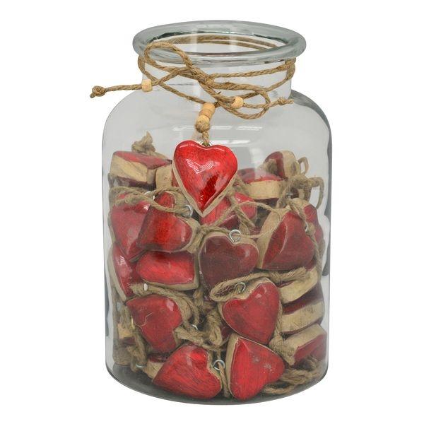 Holz Herz rot zum Hängen - Herz Geschenkanhänger