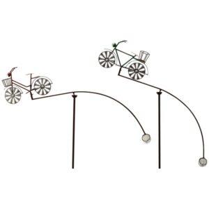 Gartenstecker Windspiel Fahrrad Balancer - Gartenpendel Rad mit Korb