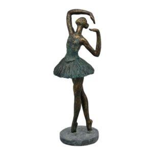 Ballerina Skulptur Ballett Tänzerin - Hilda Frauen Skulptur Balletttänzerin Kupferoptik