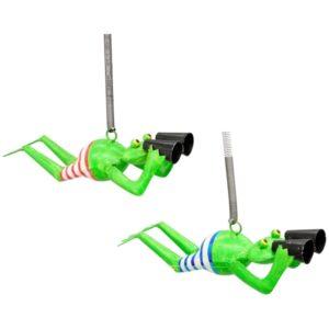 Schwingfigur Froschhänger Kanu, Metall - Frosch mit Badehose und Fernglas an Spiralfeder