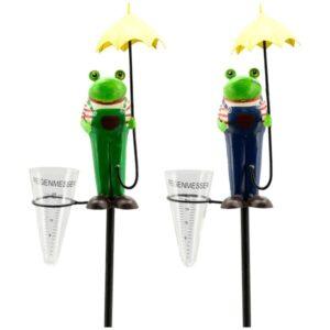 Regenmesser Frosch mit Regenschirm - Schietwetter Niederschlagsmesser Gartenstecker Frosch am Stab