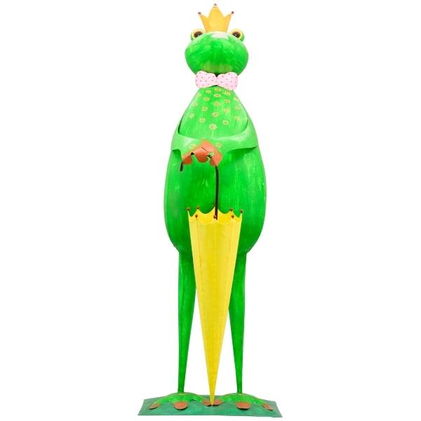XXL Froschkönig mit Schirm - Metallfrosch Gartenskulptur 47-120 cm