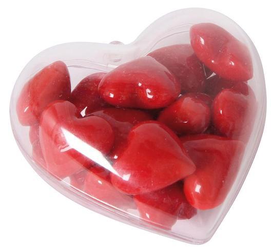 24 Glas Herzen rot in Herzbox – kleine Dekoherzen – Glasherzen – Streudeko
