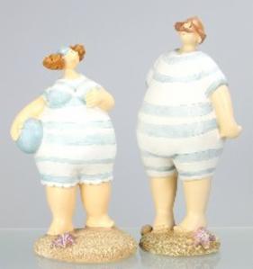Stehende Nautikserie - Retro Badefiguren Mann+Frau - Rubensmodell