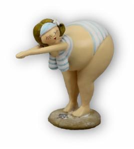Retro Badedame - Ins Wasser springende Molly - Rubensmodell - mollige lustige Frau