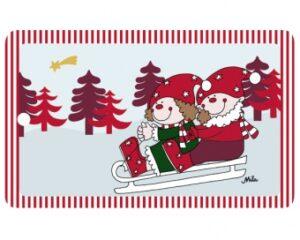 Mila Fröhliche Weihnachten - Resopal Winter Frühstücksbrettchen mit Loch zum Aufhängen