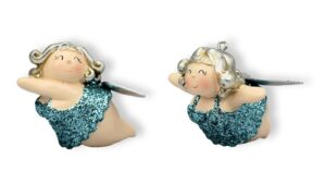 Ballerinerin Molly Engel Betty - Kult Engelsfigur Hänger Baumschmuck - molligeTänzerin Rubensfigur, glitzer, 7cm
