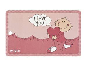 Mila Mr. Smile I Love You - Resopal Frühstücksbrettchen mit Loch zum Aufhängen